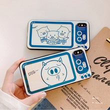 Cartoon brand pig retro television frame case phone for iphone 6 s 7 8 plus XS Max X XR Blu-ray aurora laser TV shiny cover I10