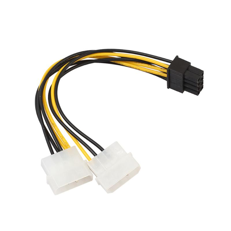 18cm 8(6+2) Pin To Dual 4 Pin Video Card Power Cable Adapter 8Pin To 2 4Pin Graphics Card Power Cord Copper Wire Core