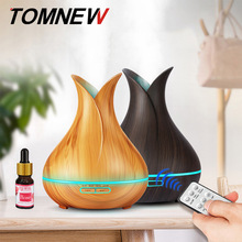 TOMNEW 400 мл эфирное масло диффузор увлажнитель ультразвуковой аромат ароматерапия диффузор текстура древесины тумана с удаленным Управление