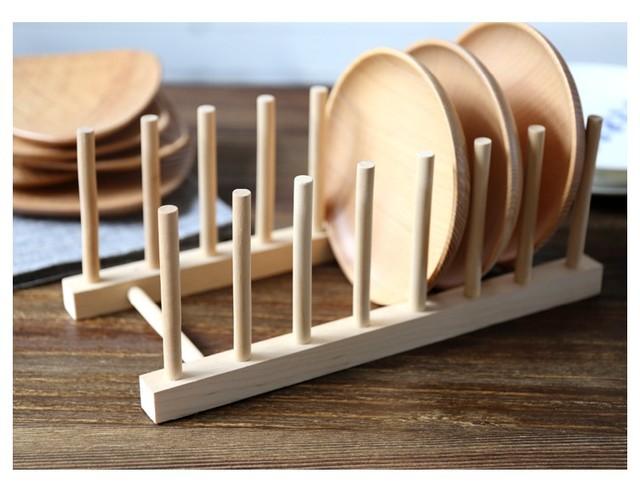 Original wood dish plate bowl rack kitchen drain shelf tableware display bookshelf home storage holders u0026 & Original wood dish plate bowl rack kitchen drain shelf tableware ...
