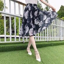 4172d7f3fc 2019 verano falda de las mujeres Vintage melocotón flor Floral impresión de  alta cintura vestido Midi Skater plisado faldas párr.
