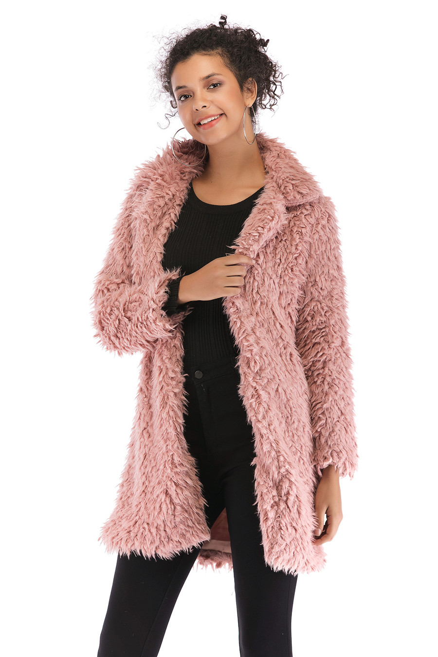 Gladiolus 2018 Women Autumn Winter Coat Turn-Down Collar Long Sleeve Covered Button Long Warm Shaggy Faux Fur Coat Women Jackets (32)