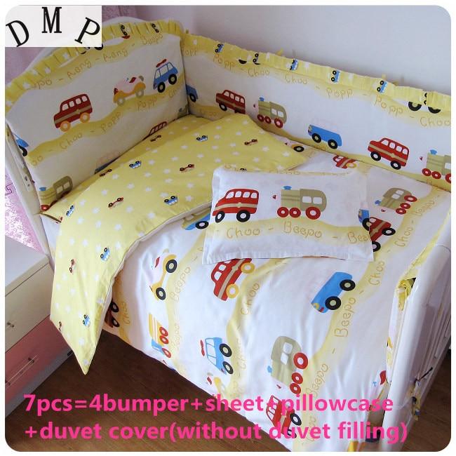 Promotion! 6/7PCS Cotton Baby Cot Bedding Set Newborn Cartoon Crib Bedding Detachable Quilt Cover , 120*60/120*70cm