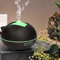 400ML Essential Oil Diffuser Aroma Humidifier With Wood Grain 7 Color LED Lights For Home Office