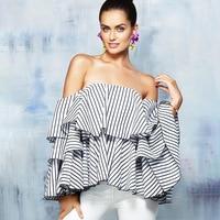 2017 New Treny Hot Fashion Stripped Blouse Women Shirts Dramatic Top Summer Ruffle Blouse
