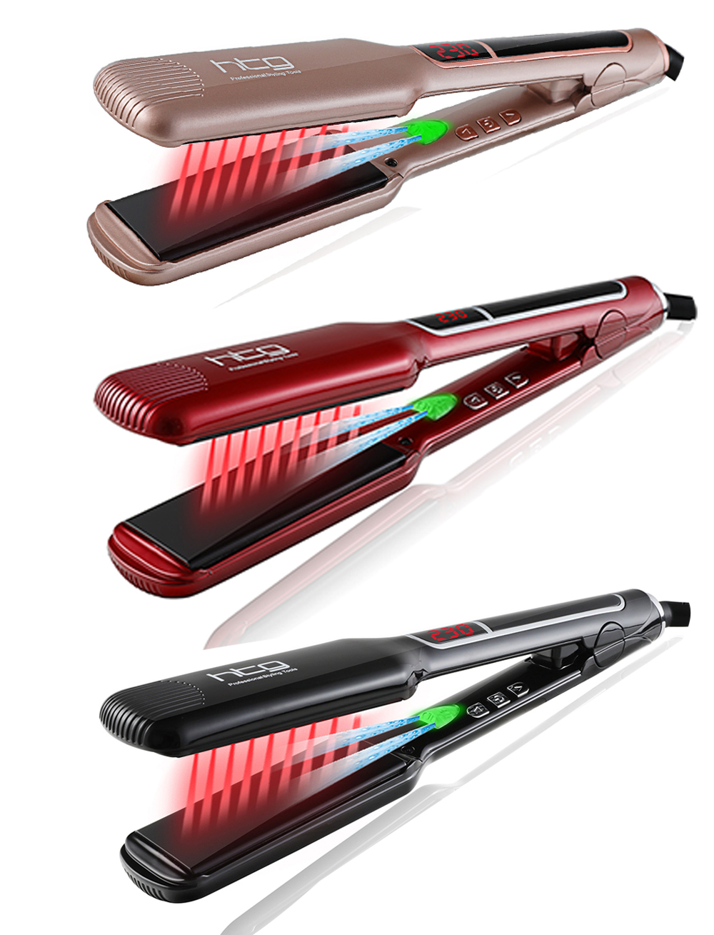 HTG Professional Hair Straightener Hair Flat Iron With Negative ION Infrared Hair Straightener Wide plates Hair Iron HT087L professional fast hair straightener nano titanium plates straightener hair iron hair flat iron u style beauty hair care tools