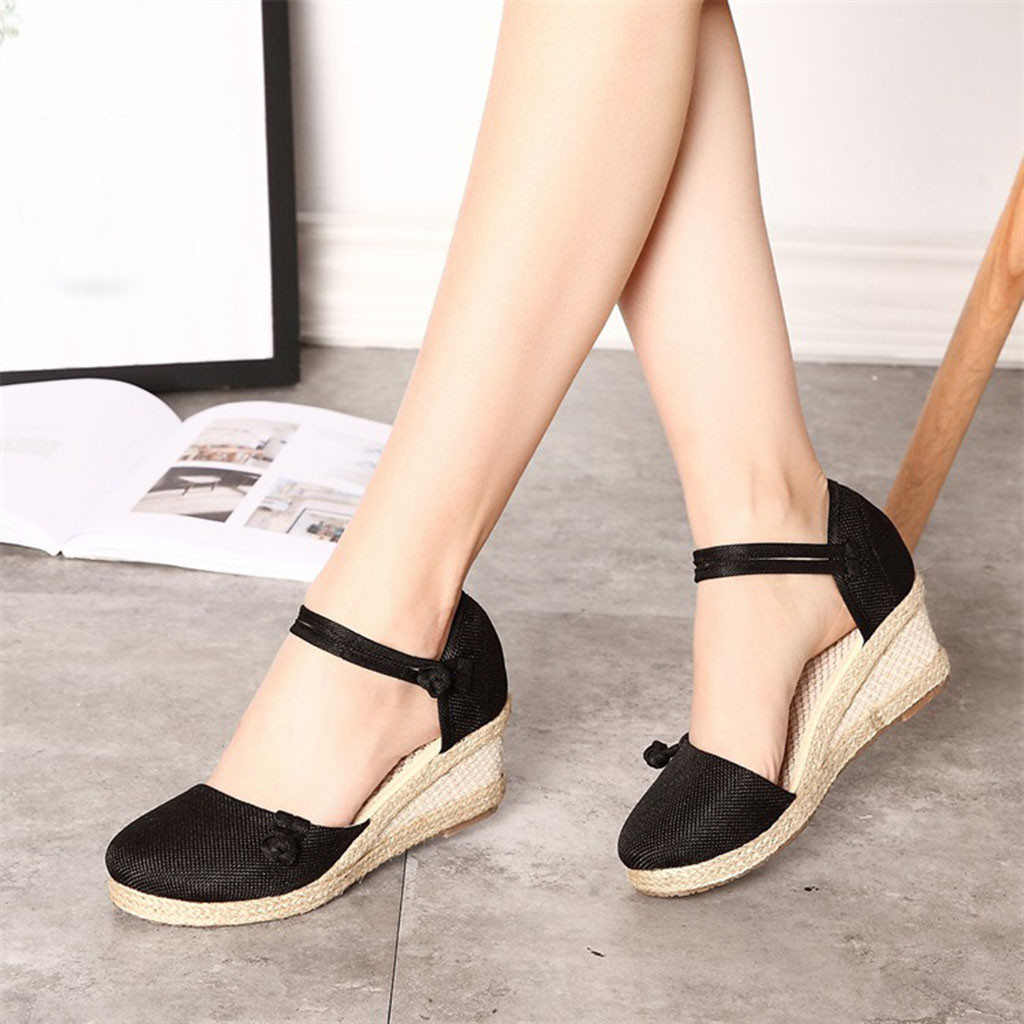 Casual Sandals Shoes Wedge Round-Toe Ladies Mujer Retro Linen Canvas Singles