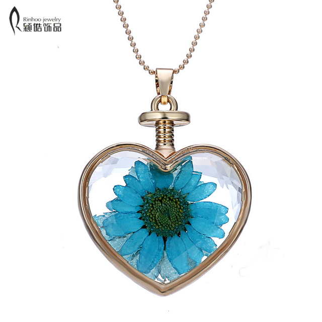 real blue dried flower inside heart pendant necklaces for women