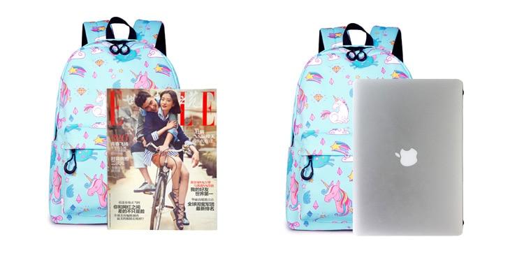 WINNER School Backpack Cartoon Rainbow Unicorn Design Water Repellent Backpack For Teenager Girls School Bags Mochila (1)