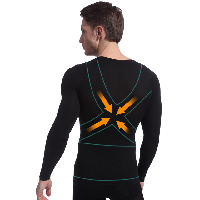Men Posture Corrector Tshirts Slimming Abdomen Long Sleeves Shaper Tummy Trimmer Magic Muscle Body Underwear 1