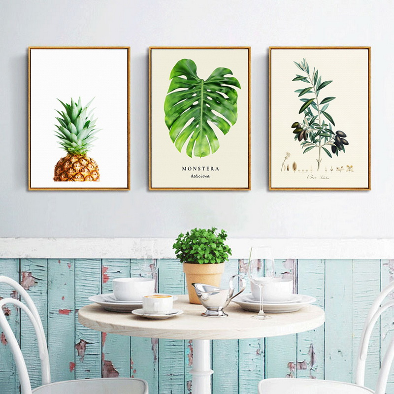 No Frame Original Oil Ink Print 3 Panels Leaves And Pineapple Canvas Painting On Canvas Wall Art Picture Home Decor A625