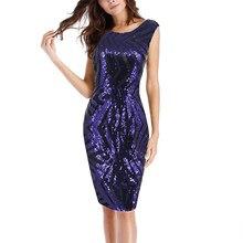 women summer elegant back v neck high waist dresses navy geometry sequined  sleeveless split dress female party middle dresses 8d7f50a561aa