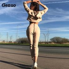 Genuo Two Piece Set Women Casual Tracksuit Long Sleeve Crop Top Pencil Pants Outfits Sporting Sweatshirt Suit
