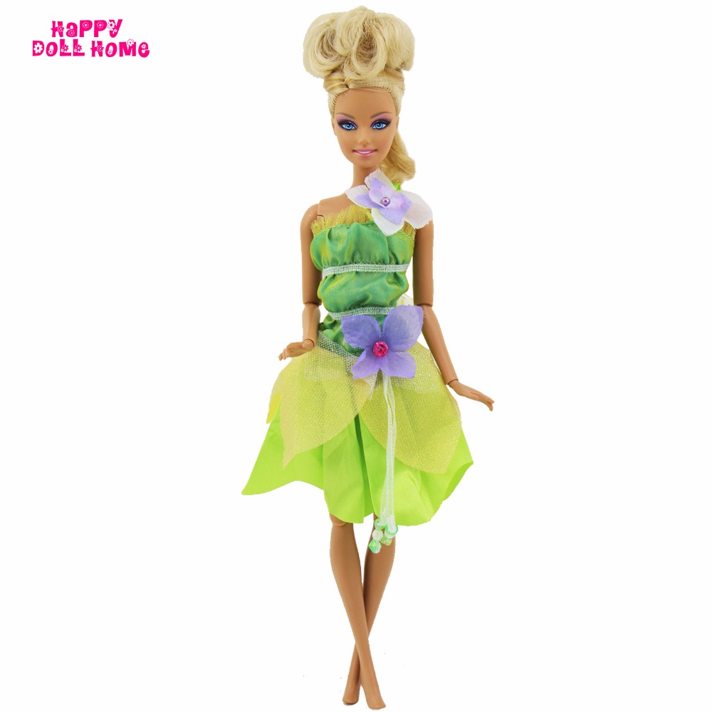 Handmade Fairy Tale Dress Green Mini Gown Forest Princess Outfit Dollhouse Costume For Barbie FR Kurhn Doll Clothes Accessories