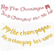 Bachelorette Party Banner Bridal Shower Decorations Pop The Champagne Shes Changing Her Name Glitter Engagement Supplies