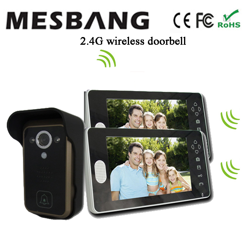 2017 new black color 2.4G wireless video door camera intercom one camera two 7 inch monitor free shipping