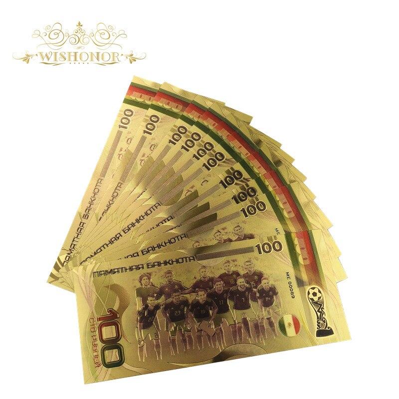 LOT 10 PCS,2018 Russian Football World Cup 24K Gold Foil Commemorative Banknote