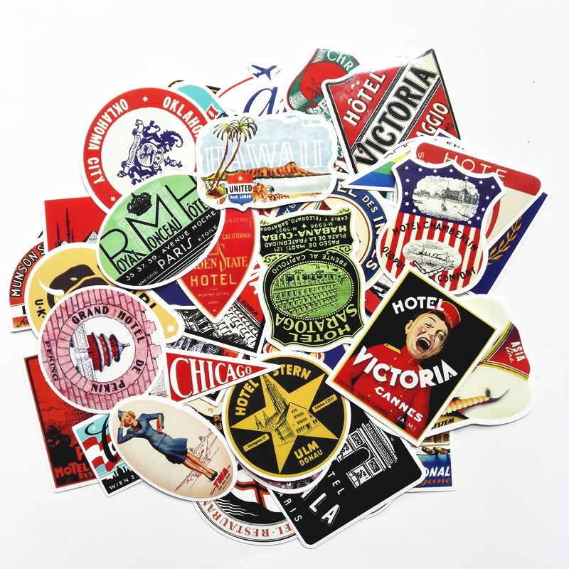 55pcs/1lot not repeat skateboard trolley suitcase stickers and retro stickers graffiti personality Hotel