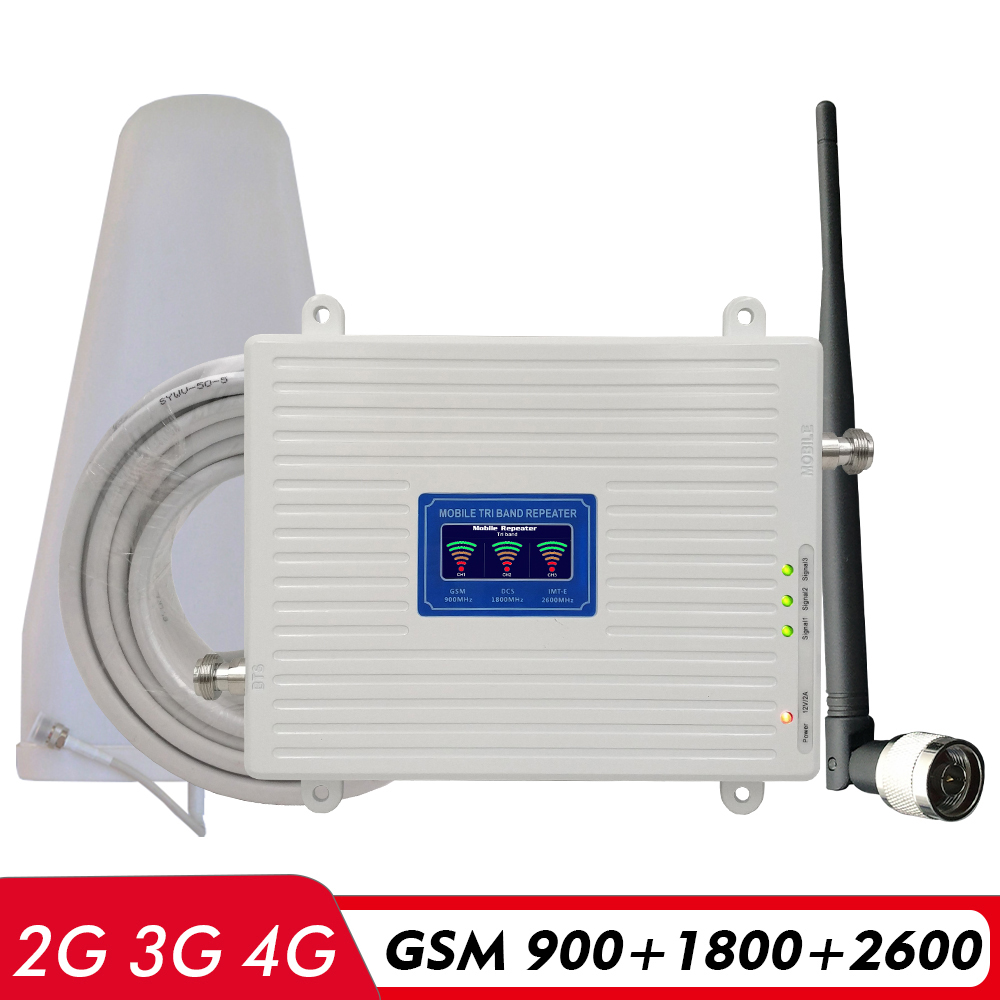 Voice 2G 3G 4G Network Tri Band Signal Booster GSM 900+(B3)DCS LTE 1800+(B7)FDD LTE 2600 Cellphone Signal Repeater Amplifier Kit
