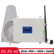 Voice 2G 3G 4G Network Tri Band Signal Booster GSM 900+(B3)DCS LTE 1800+(B7)FDD LTE 2600 Cellphone Signal Repeater Amplifier Kit 2g 4g dual band signal booster dcs lte 1800 td lte 2300 mobile signal repeater b3 1800 b40 tdd 2300 cellphone signal amplifier