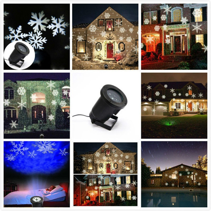 2pcs Moving Snow Laser Outdoor Waterproof Projector Winter Snowflake Spotlight LED Stage Light For Christmas
