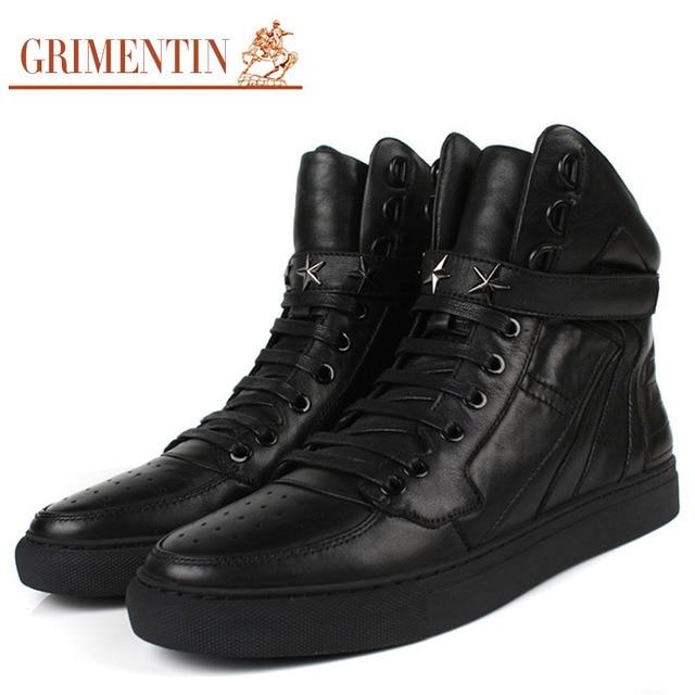 86d2239a2 GRIMENTIN حذاء كاجوال سوبر ستار إيطاليا الاتجاه العلامة التجارية أحذية رجالي  جلد طبيعي أسود الدانتيل يصل
