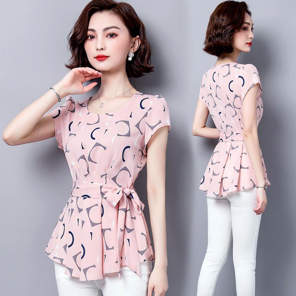 senhora manga curta o pescoco polka dot impresso blusas topos df2824 05