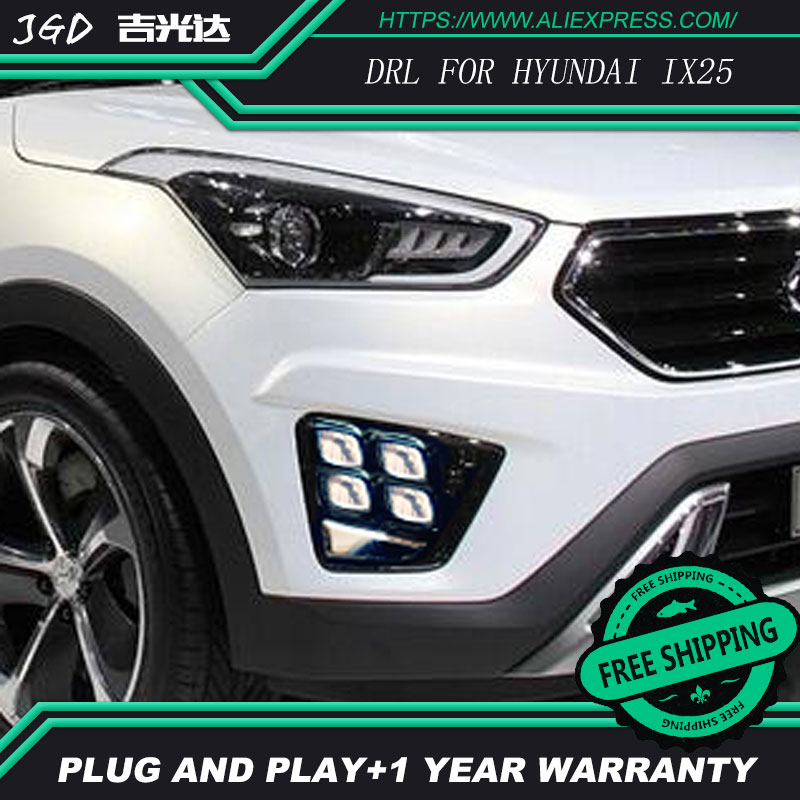 Free shipping Case For Hyundai Creta IX25 2014 2015 2016 With Chromed Cover Dimming Style Relay Car DRL 12V LED Daytime Running car rear trunk security shield shade cargo cover for hyundai creta ix25 2014 2015 2016 2017 black beige