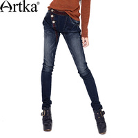 Artka Women S Bleached Washed Button Pencil Pants Softener Pockets National Embroidery Cotton Jeans Skinny Pants