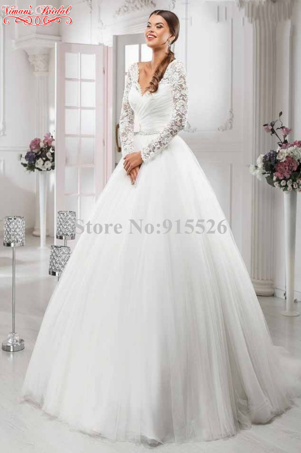 2017 New Design White Bride Dress Liques Lace V Neck Full Long Sleeves Floor Length Ball Gown Gelinlik Free Shipping Ae85 In Wedding Dresses From