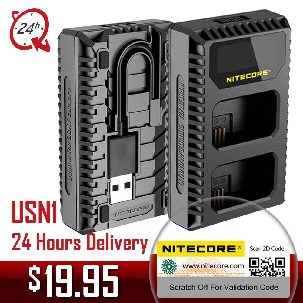 Nitecore USN1 Digital de doble ranura de cargador de cámara de Sony NP-FW50 baterías compatible con a6500 a7 a7II a7R a7R2 a7s
