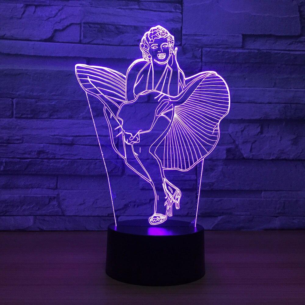 3D Led визуальное ночник USB нажатием кнопки сексуальная Мэрилин Монро настольная лампа Дети Спальня сна освещение для домашнего декора настро...