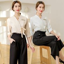Cosmetologist work clothes female suit summer skin management beauty makeup health SPA Korean version