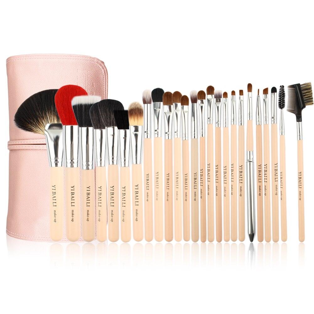 где купить ISMINE 25Pcs Makeup Brush Set Wood Handle Powder Blusher Eyeshadow Brush Professional Make Up Brushes Cosmetic Tool with PU Bag по лучшей цене
