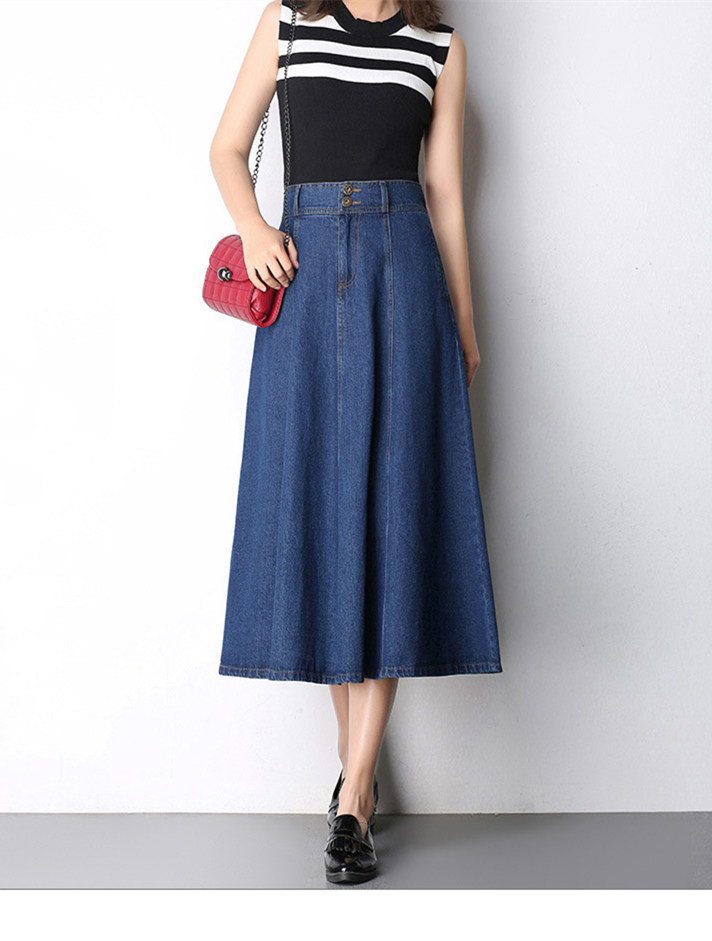 55d72c2b70 2019 Women Cotton Long Denim Skirt With Pockets 2017 Casual Vintage ...