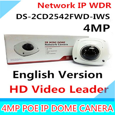 Free shipping DS-2CD2542FWD-IWS Audio 4MP WDR Mini Dome IP Network Camera, P2P wireless cctv camera POE free shipping in stock new arrival english version ds 2cd2142fwd iws 4mp wdr fixed dome with wifi network camera