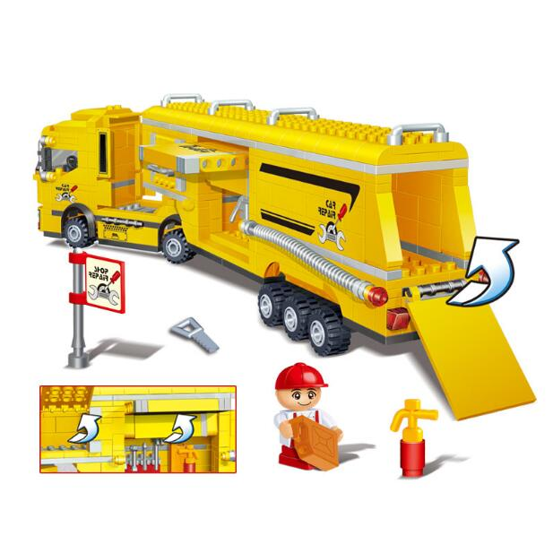 Banbao 8761 Container Truck and Racing Car 712 pcs Plastic Model Building Block Sets Educational DIY Bricks Toys Christmas 005