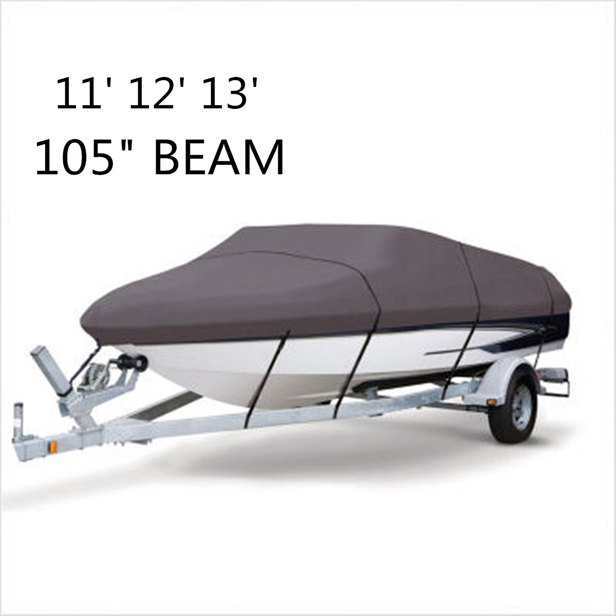 WaterProof 210D Grey Boat Mooring Cover 11 12 13 FT Beam 105 inch Trailerable Fish Ski