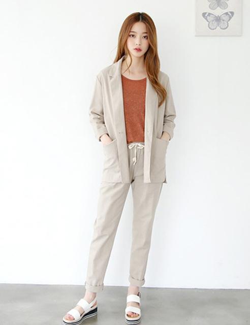2016 de Verano de Corea Del Algodón Sueltos de Cintura Elástica Pantalones de tendencias de Moda Casual elegante señora de la oficina moda de las mujeres de dos piezas conjunto Traje