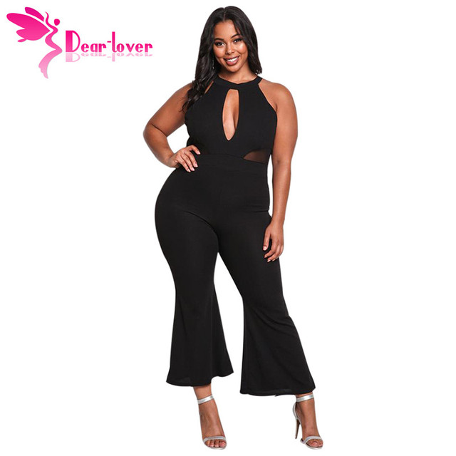 cea736797e8 Dear Lover wide leg pants women Sexy Black Plus Size Cut Out Mesh Trim  Bodycon Club Flared Jumpsuit Romper Macacao White LC64360