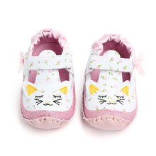 Fashion Baby Girl Shoes Cute Cartoon Print PU Leather Princess Baby Shoes Soft Sole First Walkers Newborn Moccasins For Girls