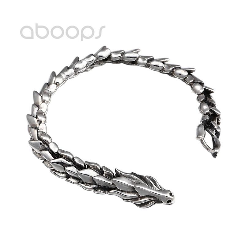 Cool Vintage 925 Sterling Silver Dragon Link Chain Bracelet for Men Women 12mm 20cm Free Shipping vintage solid color link chain bracelet for women