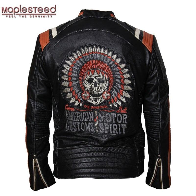 MAPLESTEED Brand Motorcycle Jacket Vintage Skull Embroidery 100% Cowhide Skin Genuine Leather Jacket Moto Coat Biker Jacket 086