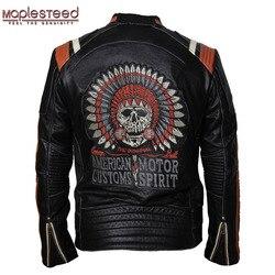 MAPLESTEED Merk Motorjas Vintage Schedel Borduurwerk 100% Koeienhuid Huid Echt Lederen Jas Moto Jas Biker Jas 086