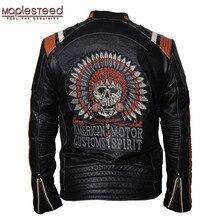 Maplesteed marca jaqueta de motocicleta do vintage crânio bordado 100% pele couro genuíno jaqueta moto casaco motociclista 086