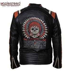 Image 1 - Maplesteed marca jaqueta de motocicleta do vintage crânio bordado 100% pele couro genuíno jaqueta moto casaco motociclista 086