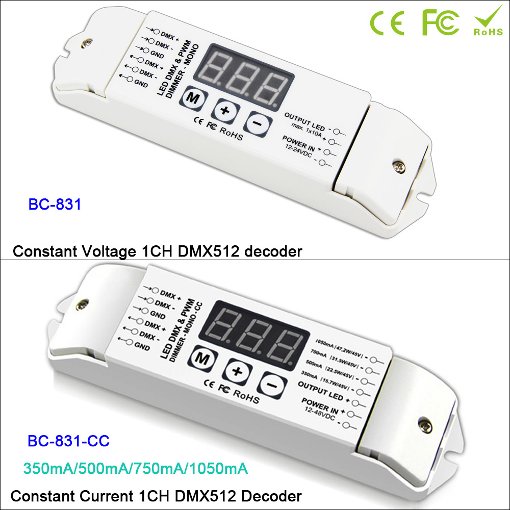 BC-831/BC-831-CC LED DMX512 Single color Decoder Controller PWM CC/CV single channel Dimmer driver For Lamp,DC12V-24V