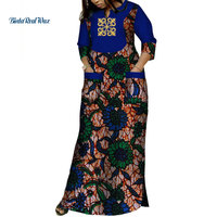 Dashiki African Dresses for Women Bazin Riche Applique Print Long Dresses with 2 Pockets Traditional African Clothing WY3620