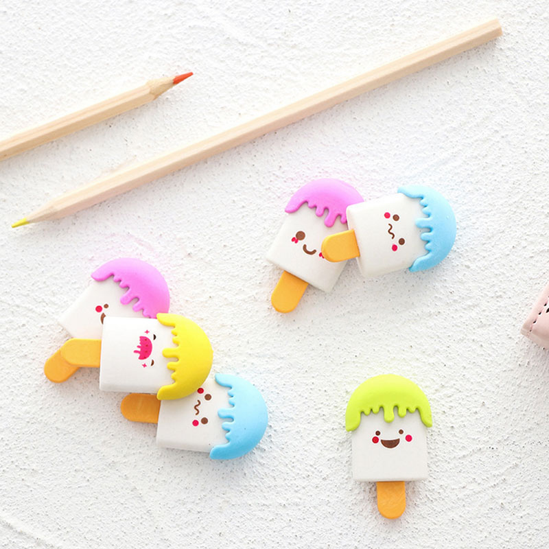4 Pcs/lot Cute Ice-lolly Shape Eraser Cartoon Animals Rubber Eraser Kawaii Stationery School Supplies Papelaria Kids Gifts