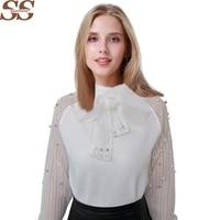 2016 Autumn Elegant Organza Bow White Chiffon Shirt Bottoming Blouse Pearl White Chiffon Casual Women Shirt
